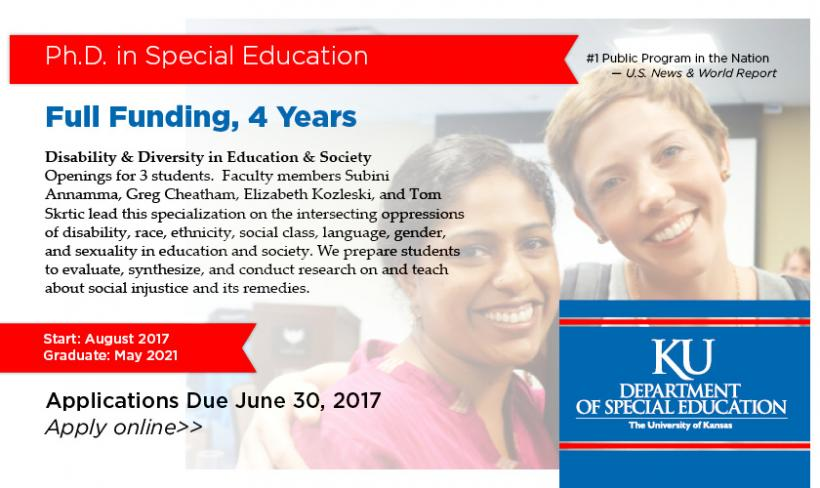 Ph.D. in Special Education Fall 2017 (Diversity Specialization)